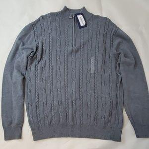 ROUNDTREE&YORKE MEN L PULLOVER SWEATER 1/4 Zipper